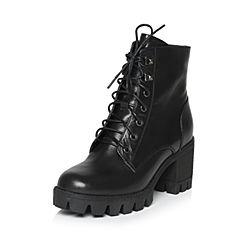 Teenmix/天美意冬季专柜同款黑色牛皮女短靴6E845DD6