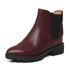 Teenmix/天美意冬季专柜同款酒红色牛皮女短靴6Q740DD6