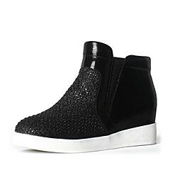 Teenmix/天美意冬季专柜同款黑色羊皮/纺织品女短靴6R140DD6