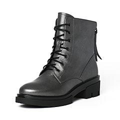 Teenmix/天美意冬季专柜同款灰色珠光牛皮女靴6R542DD6
