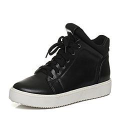 Teenmix/天美意冬季专柜同款黑色牛皮/织物女靴6T140DD6