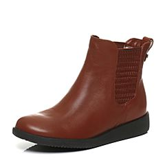 Teenmix/天美意冬季专柜同款棕色牛皮女短靴6US44DD6