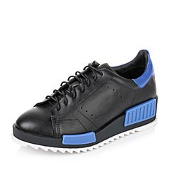 Teenmix/天美意秋季专柜同款黑/蓝色牛皮革女休闲鞋AN481CM6