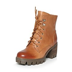 Teenmix/天美意冬专柜同款棕色牛皮优雅简约粗跟马丁靴女短靴6E845DD6