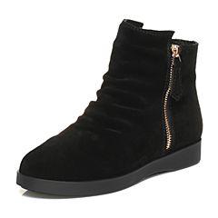 Teenmix/天美意冬季专柜同款黑色剖层牛皮简约时尚女休闲靴AN841DD6