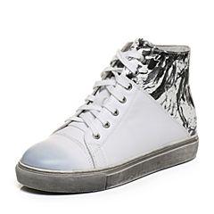 Teenmix/天美意冬季专柜同款白/黑色牛皮/羊皮帅气潮流女休闲靴AN651DD6