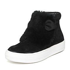 Teenmix/天美意冬季专柜同款黑色牛皮/羊毛女休闲靴(皮里)AN771DD6