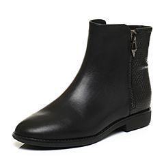 Teenmix/天美意冬专柜同款黑色小牛皮简约方跟女短靴(绒里)6D444DD6