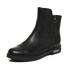 Teenmix/天美意冬专柜同款黑色牛皮方跟女短靴(绒里)6Q340DD6