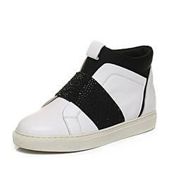 Teenmix/天美意冬专柜同款白/黑色牛皮/织物简约舒适女休闲鞋AN661DM6
