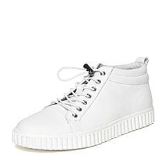 Teenmix/天美意冬专柜同款白色牛皮休闲舒适平跟男低靴1ZU0TDD6