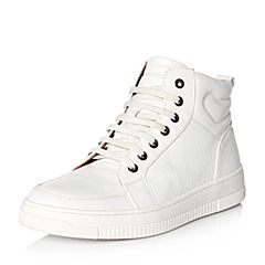 Teenmix/天美意冬专柜同款白/银色牛皮舒适平跟男低靴65H43DD6