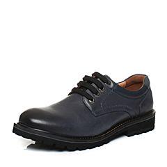 Teenmix/天美意冬专柜同款蓝色油蜡牛皮方跟系带鞋男单鞋AUB02DM6