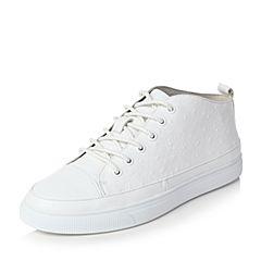 Teenmix/天美意冬专柜同款白色牛皮学院风系带鞋男休闲鞋1ZE0TDM6