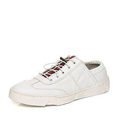 Teenmix/天美意秋专柜同款白色软面牛皮舒适平跟男休闲鞋BCB04CM6
