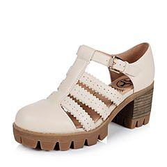 Teenmix/天美意春专柜同款米色牛皮女凉鞋6E830AK6