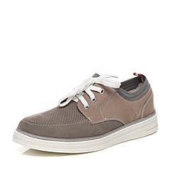 Teenmix/天美意夏季专柜同款灰/米灰色磨砂牛皮男单鞋64T01BM6