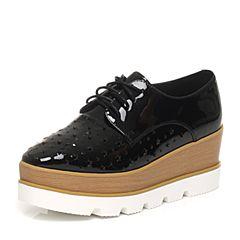Teenmix/天美意春季专柜同款黑色漆皮牛皮女单鞋6D921AM6