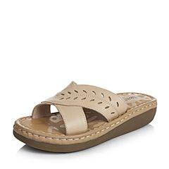 Teenmix/天美意夏季专柜同款杏色牛皮女拖鞋AM75TBT6