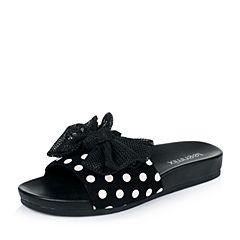 Teenmix/天美意夏季专柜同款黑/白色羊绒皮/网布女拖鞋AM791BT6