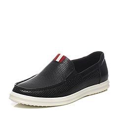Teenmix/天美意夏季专柜同款黑色牛皮/织物男休闲鞋1WS0TBM6