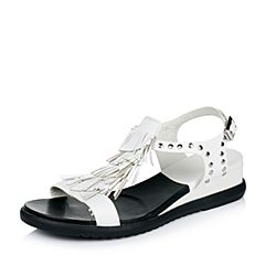Teenmix/天美意夏季专柜同款白色羊皮女凉鞋AM92TBL6