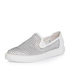 Teenmix/天美意春季专柜同款银/白色网布/牛皮女休闲鞋AN071AM6