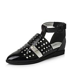 Teenmix/天美意春季专柜同款黑色漆皮牛皮复古森女系女凉鞋6ZY30AK6