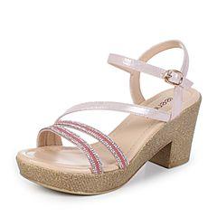 Teenmix/天美意夏季专柜同款粉色山羊皮/织物性感细条带水钻女凉鞋6YB15BL6