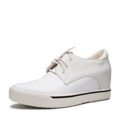 Teenmix/天美意2017春季白色软面牛皮女单鞋卡乐鞋BS125AM7
