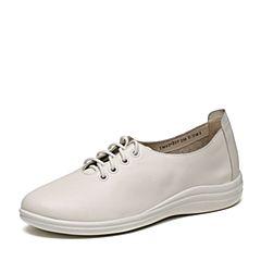 Teenmix/天美意春专柜同款白色牛皮女单鞋6DQ29AM7