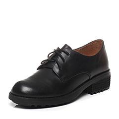 Teenmix/天美意2017春季专柜同款黑色打蜡牛皮女单鞋6JH21AM7