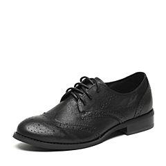 Teenmix/天美意2017春专柜同款黑色牛皮女单鞋6T420AM7