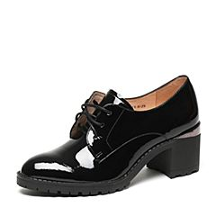 Teenmix/天美意2017春专柜同款黑色漆皮牛皮女单鞋6V821AM7
