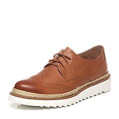 Teenmix/天美意2017春季专柜同款棕色牛皮女单鞋6ZW23AM7