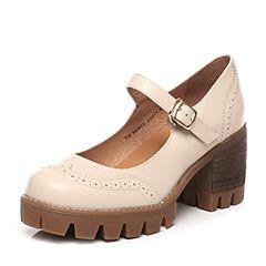 Teenmix/天美意2017春季专柜同款米白色牛皮女单鞋6E803AQ7