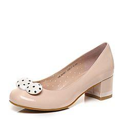Teenmix/天美意2017春季专柜同款粉/白色漆皮女单鞋6H901AQ7