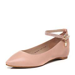 Teenmix/天美意春季专柜同款浅粉色绵羊皮/织物女单鞋6U301AQ7