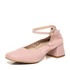 Teenmix/天美意2017春季专柜同款粉色羊皮女单鞋6U801AQ7