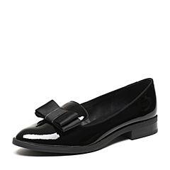 Teenmix/天美意春专柜同款黑色漆皮牛皮/羊皮女单鞋6T501AQ7