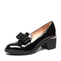 Teenmix/天美意2017春专柜同款黑色漆皮牛皮女单鞋6V801AQ7