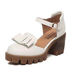 Teenmix/天美意2017春季专柜同款白色牛皮女凉鞋6E831AK7