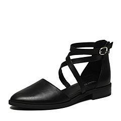 Teenmix/天美意2017春专柜同款黑色牛皮女凉鞋6T531AK7