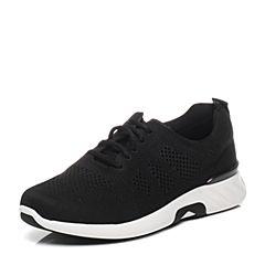 Teenmix/天美意春专柜同款黑色布运动风系带鞋男休闲鞋65T03AM7
