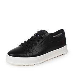 Teenmix/天美意2017春专柜同款黑色软面牛皮男休闲鞋BCG10AM7