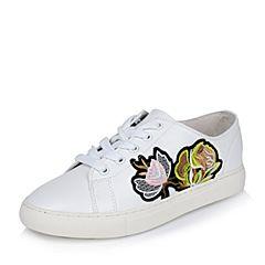 Teenmix/天美意2017春专柜同款白色牛皮女单鞋AO321AM7