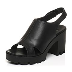 Teenmix/天美意2017夏专柜同款黑色牛皮时尚粗跟女凉鞋6K212BL7