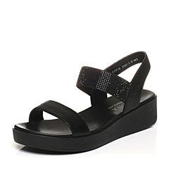 Teenmix/天美意夏专柜同款黑色猪皮时尚闪钻女凉鞋6Z916BL7