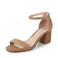 Teenmix/天美意夏专柜同款杏色羊绒皮时尚优雅粗跟女凉鞋AO821BL7