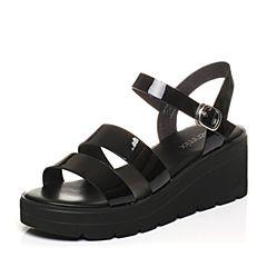 Teenmix/天美意夏专柜同款黑色镜面条带简约女凉鞋AO971BL7